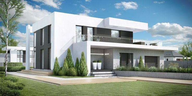Dom wyróżnia się nowoczesnym, wyrazistym charakterem bryły. Niecodzienny styl budynku wyrażony jest prostą i czytelną bryłą oraz geometrycznym detalem. Modernistyczną formę podkreśla wykończenie elewacji skomponowane w tonacji bieli i szarości połączone z ciemną stolarką okienną.