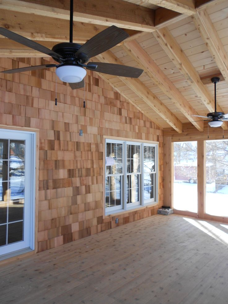Screened Porch In Progress Before Stain Facing House