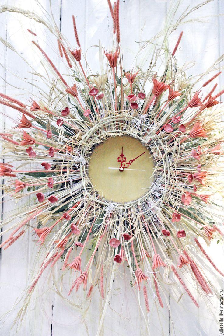 Купить Настенные часы Солнечные - коралловый, декор стен, настенные часы, настенный декор