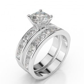 14K White Gold Swarovski Engagement Ring Set Sidestones www.brillianteers.com #engagementring