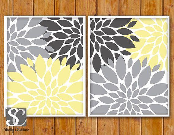 Floral Flower Burst Gray Yellow Set of 2 Wall Baby Decor Bedroom Bathroom Livingroom 11x14 DIY Printable INSTANT DOWNLOAD