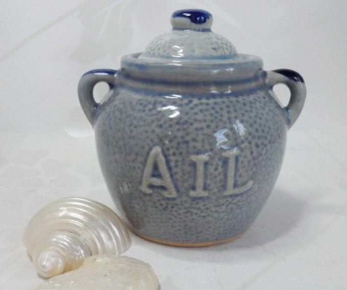 Garlic Pot French Ail Vintage Cobalt Blue Salt Glaze Stoneware Kitchen Ware Cookware by BelieveToBeBeautiful on Etsy