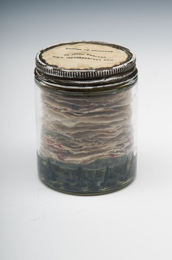 """""""Bottled Up Emotions"""" by Leslie Pearson, Sewn book: glass jar, paper, resin, tacks, approx. 4"""" x 12"""", 2012"""