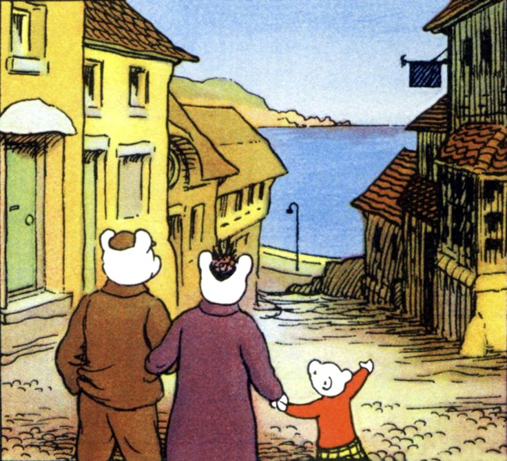 Rupert Bear and Parents at the seaside