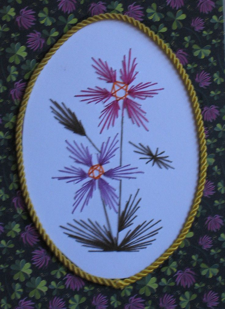 Paper embroidery - framed flowers
