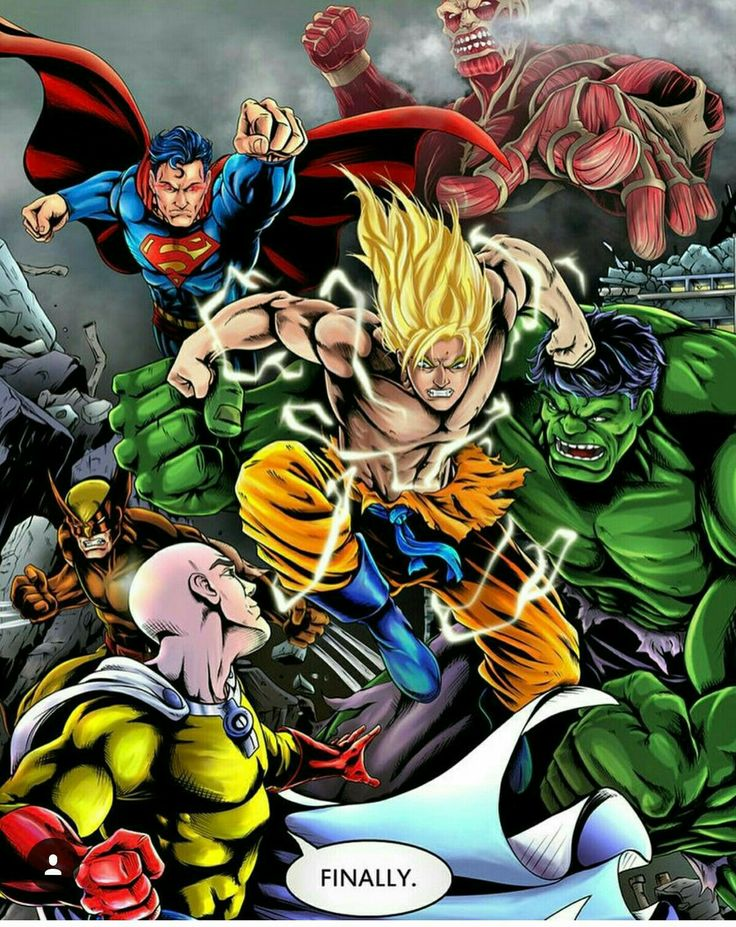 One Punch Man Saitama Goku Vielfrasse Hulk Superman Starke