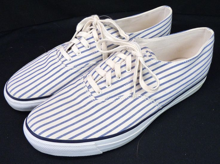 Vintage 70s Sperry Top-Sider Lace-Up Canvas Sneakers Shoe Seersucker Stripe  11.5 #