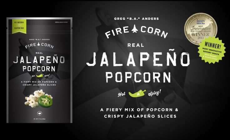 Fire Corn Popcorn - Now you're eating like a fighter pilot!  Developed by retired Air Force pilot Lt-Colonel Greg Anders.
