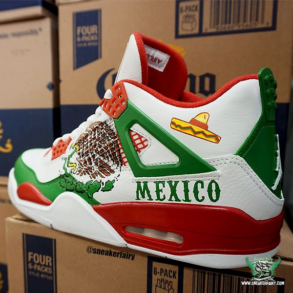 sneaker fairy fetti dbiasi custom sneakers shoes jordan jordans 4 iv mexico cinco de mayo tijuana mexico city cartel cocaine cowboys fiesta oscar de la hoya