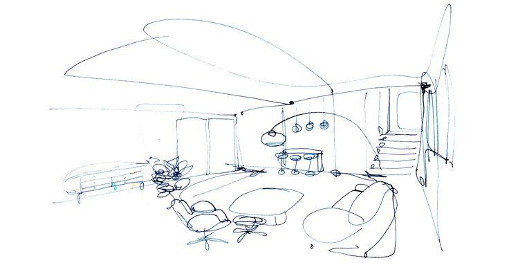 Interior, watercolour