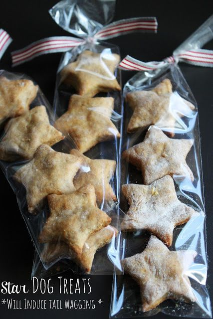 Homemade Dog Treats; Mix One cup whole wheat flour One mashed and ripe banana A drizzle of Honey 1/2 Cup of Peanut Butter; Bind with water or egg until biscuit dough forms. Add some flour, roll out, cut and bake at 375 for 20 mins or until brown.