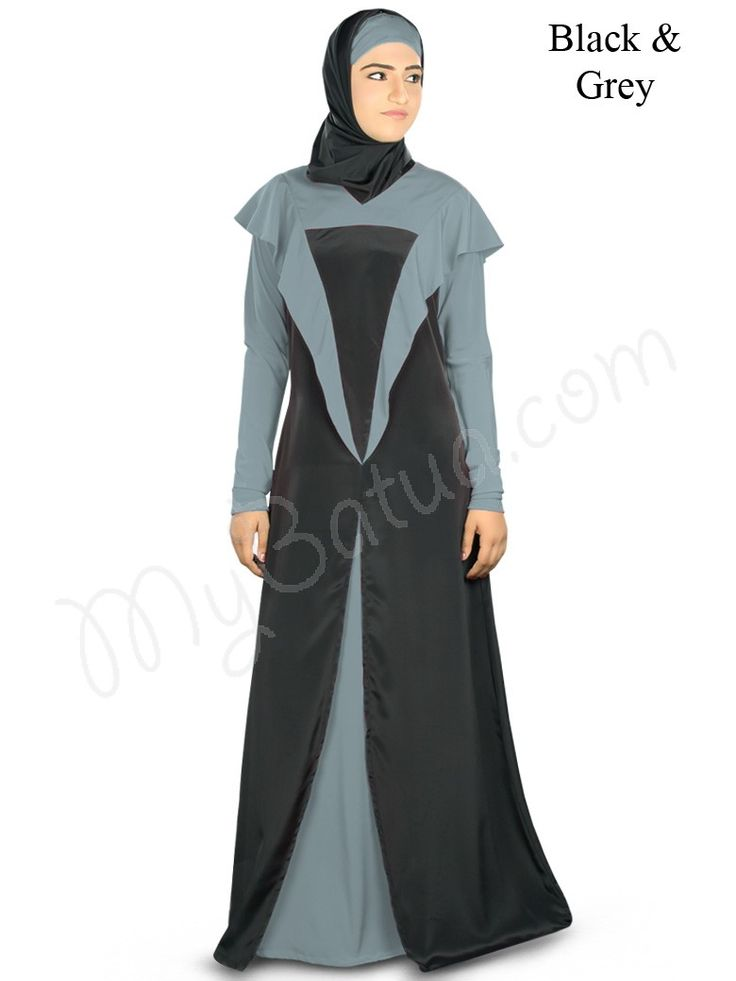 Rich Abaya with fabulous color combination at MyBatua, simply designed with frills, complete dress for special party wear Dual color Abaya with 'V' neckline Frills attached at shoulder Straight sleeves Utility pockets on both sides Matching Square Hijab (100x100 cm approx.) and Band can be bought separately. Colour: Sweet Pink & Black Fabric: Poly crepe