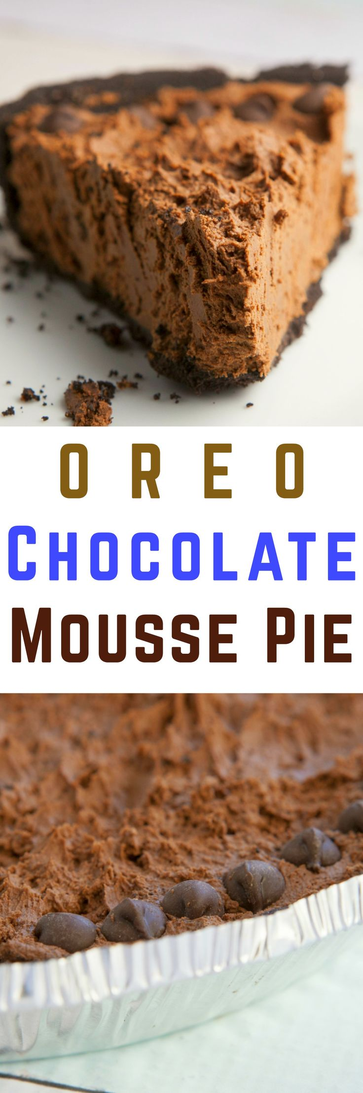 Delicious dessert recipe for Oreo Chocolate Mousse Pie.  This is a rich double chocolate no bake pie made with Cool Whip and a Oreo crust.