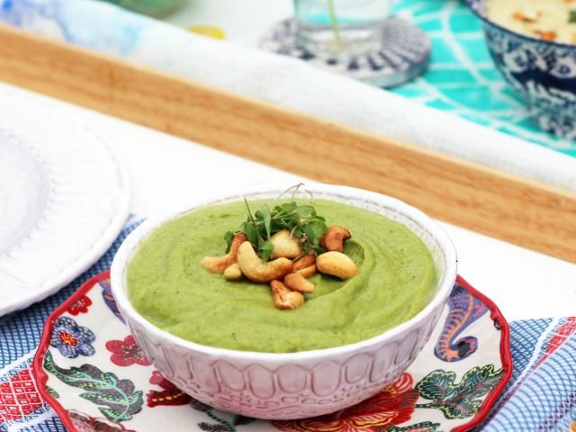 The detox kitchen broccoli, courgette and ginger soup with roasted cashew nuts