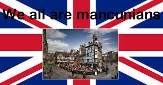 """""""We all are Mancunians !"""" (Nous sommes tous des Mancuniens) est le slogan de solidarité avec les victimes de Manchester qui a vu le jour dans la nuit de lundi à mardi sur les réseaux sociau, le 22/05/2017."""