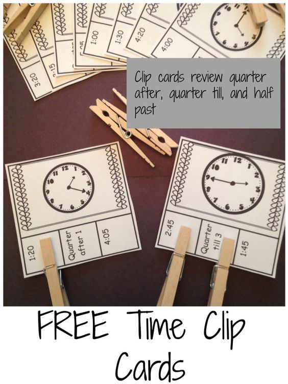 Practice telling time and learning about clocks with these free time clip cards!
