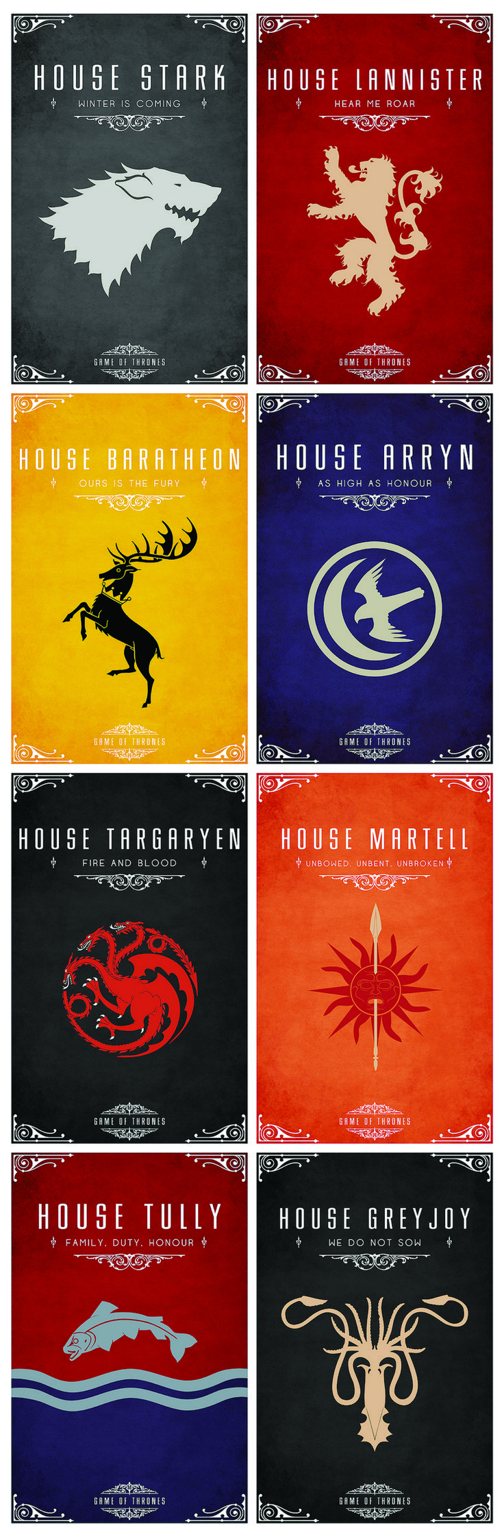 Game of Thrones minimalist posters. All the major houses. Made by Thomas Gateley.
