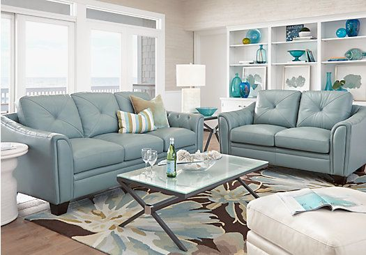 Cindy Crawford Home Marcella Spa Blue Leather 2 Pc Living Room From Leather Living Rooms