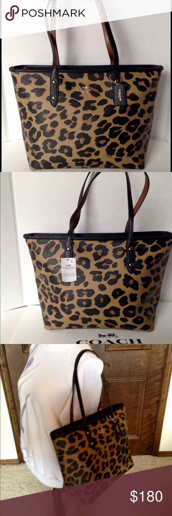 "Coach City Zip Tote Leopard Print Coach city zip top tote in leopard print PVC canvas. Gold hardware and black straps, outlined top and hangtag. Handles with 9"" drop. Inside black twill lining with zippered pocket and two slip pockets. F38392. Stunning handbag!❤️ Coach Bags Totes"