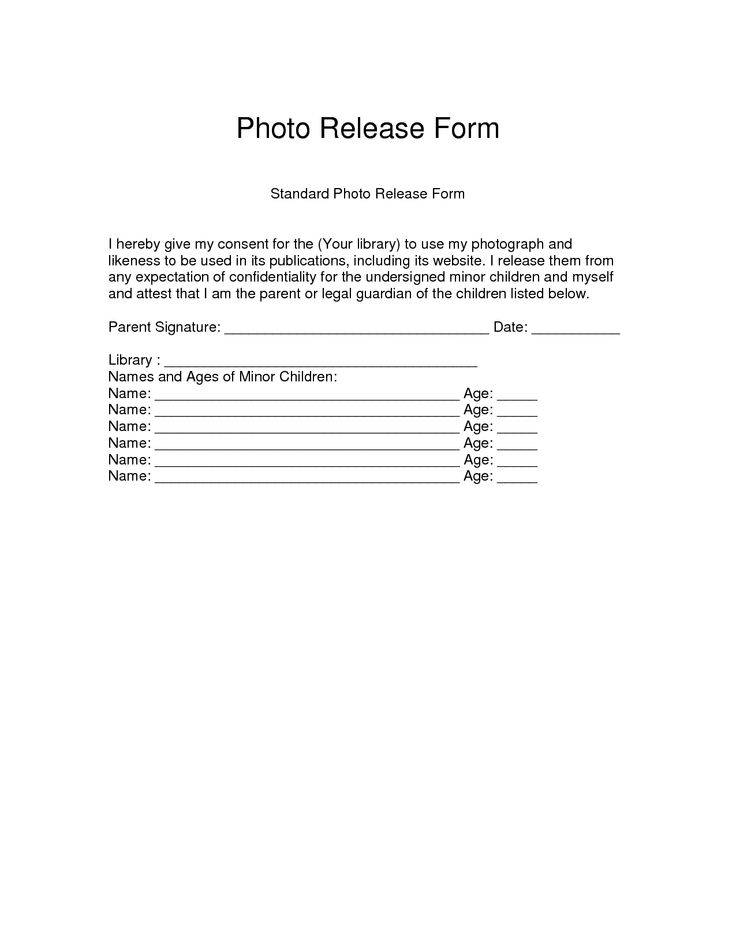 Medical Photography Consent Form Template Standard Photo Release
