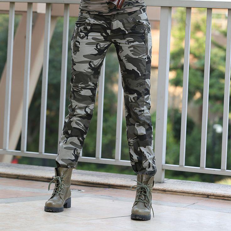 Novo design de verão camuflagem calças Mulheres Moda Casual Esportes solto Esporte carga calças Mulheres Militar GK-9522B