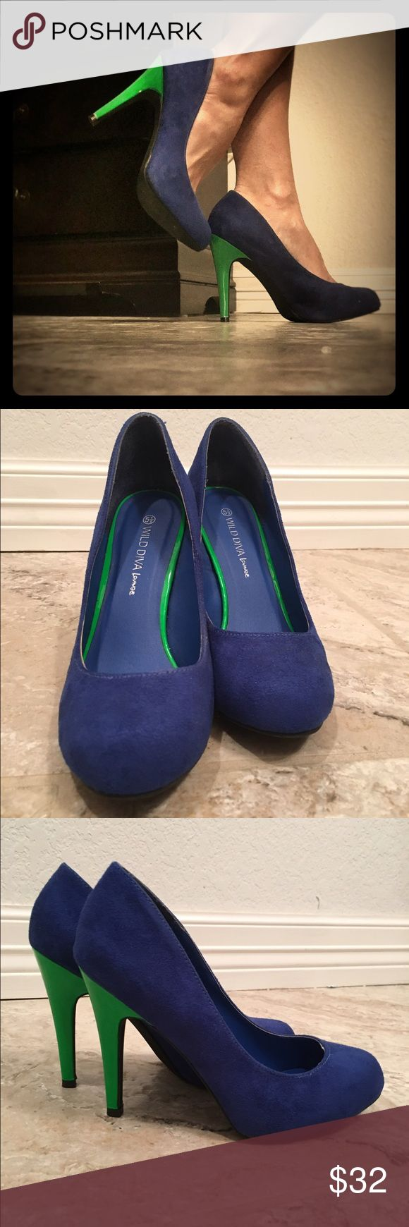 Blue Suede Pumps w/ Kelly green pump | heel Blue Suede Pumps w/ Kelly green heel. Suuuuchhh a cute, great and comply pump/heel. Worn only a few times, no signs of wear and tear! Love!! Wild Diva Shoes Heels