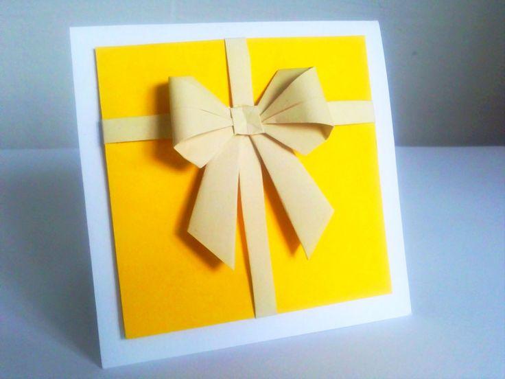 papírový dárek otevírací přání 10x10 cm použito - tvrdý papír, origami mašle možno vyrobit v různých barvách, podle přání