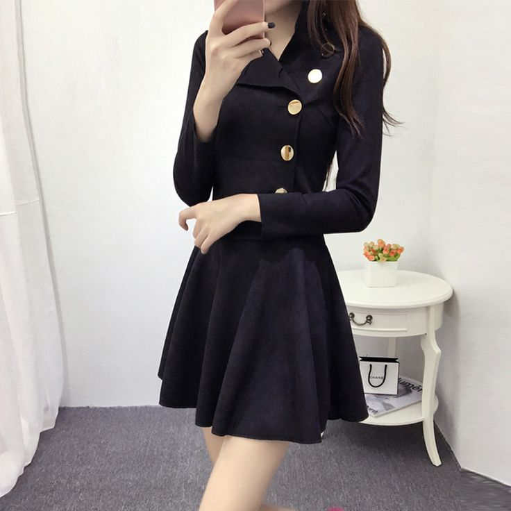 Cheap suede dress, Buy Quality a-line dress directly from China dress fashion Suppliers: Suede dress fall and winter clothes Korean Slim European fashion long-sleeved A-line dress