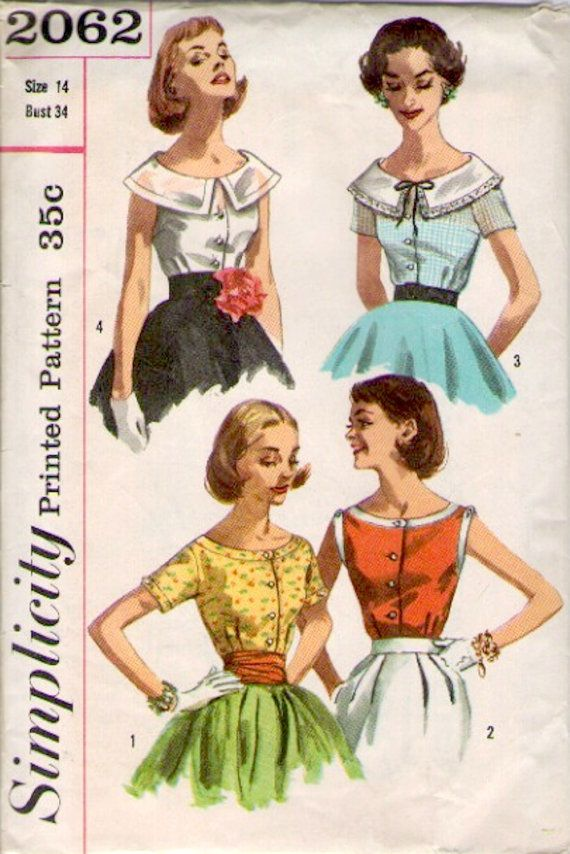 Toll Simplicity 2062 Sewing Pattern // Sleeveless Or Short Sleeve Blouse, $10.00