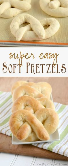 Recipe for homemade Soft Pretzels that are super easy to make! You can have hot pretzels in under an hour.