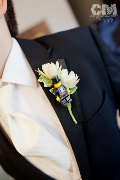 Fall wedding at the Clarke Estate in Santa Fe Springs, CA: Photo of Lego man boutonniere for Groom and Groomsmen.