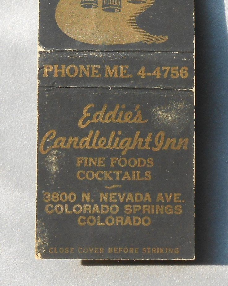 1950s Matchbook from Eddie's Candlelight Inn at 3800 N. Nevada Ave. in Colorado Springs, CO