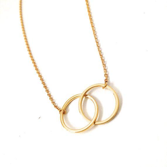 Min1pc Oro e Argento Infinity Doppio Circles Collana per le Ragazze Incastro Circles Pendente Della Collana XL184