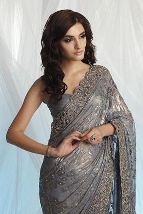 gray saree