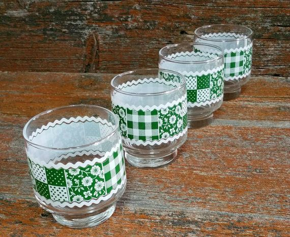 Vintage Libbey Juice Glasses Libbey Green by EmptyNestVintage