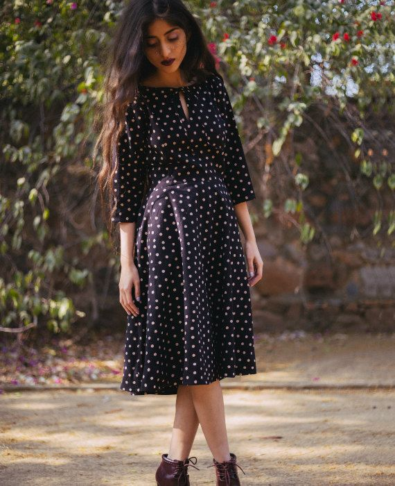 Black and Cream Polka Dot Hand Block Printed Fit and Flare Cotton Dress