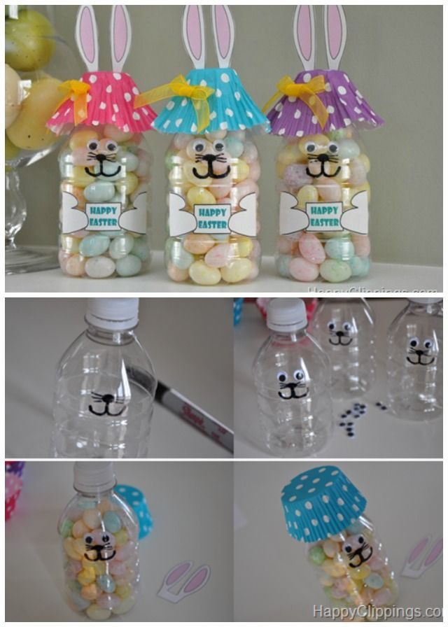 DIY Easter Bunny Bottle Treats, perfect Easter gift craft for kids to make, too. #Crafts, #Easter, #Gifts