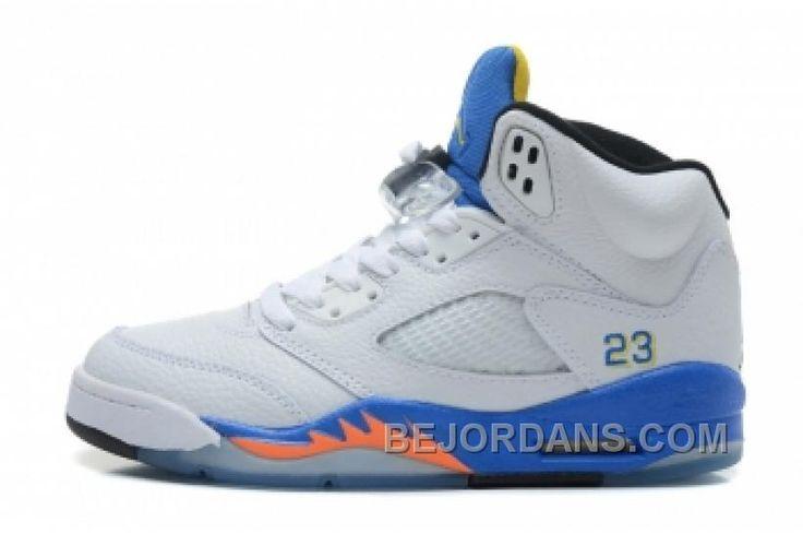 Air Jordan 5 Retro Men's Shoes white blue orange