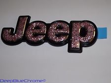 Pink and Black Jeep | Jeep Cherokee Genuine Swarovski Pink Crystal Mopar Emblem 14 Rear ...