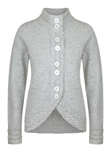 Ladies Wool Cashmere 'Portumna Jacket' - Silver, by Irelands Eye Knitwear Autumn Winter 2014/15.