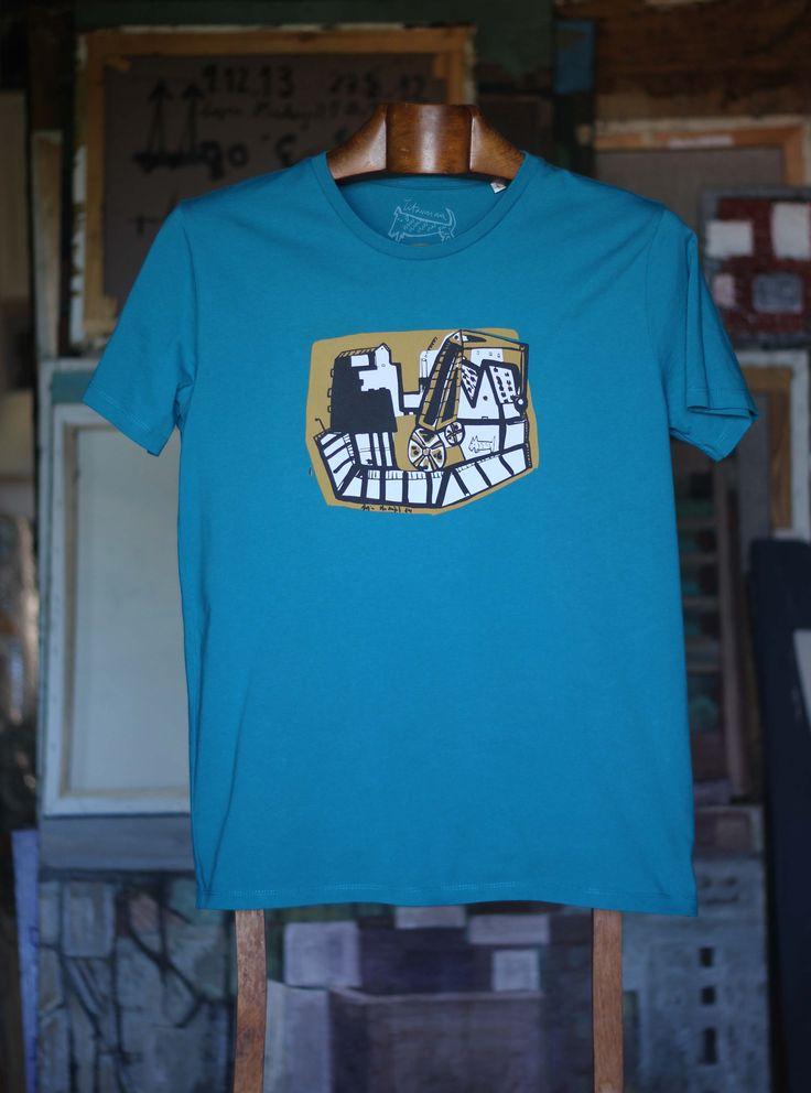 Macizo azul hombre Camiseta de algodón orgánico 100% 30,00€