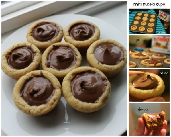 Mini Nutella Cookie Cups Recipe // I really want to try this!! I'll make them for next birthday! :D #cookies #yummy #nutella