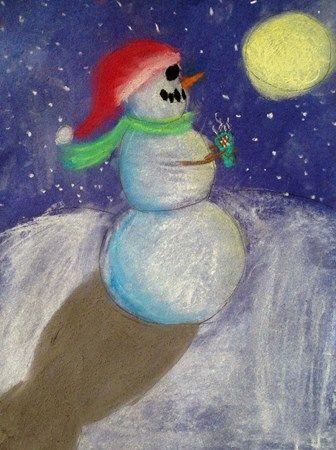 Fourth Grade  Snowmen at Night Soft Chalk Pastel