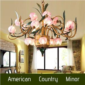 (EU Lager)Wunderschöne Led Hängeleuchte im Florentiner Stil Seerosen Design aus Glas Eisen 20-Flammig