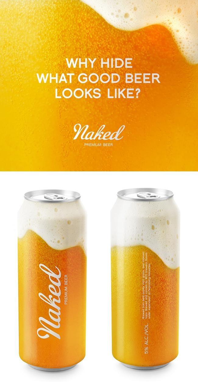 """Naked"" beer cans by designer Timur Salikhov (http://timmsal.tumblr.com)"
