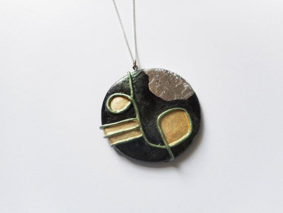 Space Age Round Pendant  Large  Polymer Clay by SophieCarlon