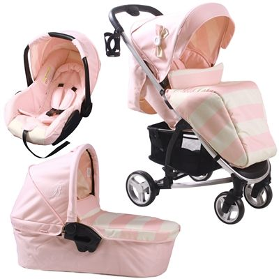 How cute is this, perfect for a little girl!!   Billie Faiers MB99+ Pink Stripes Travel System