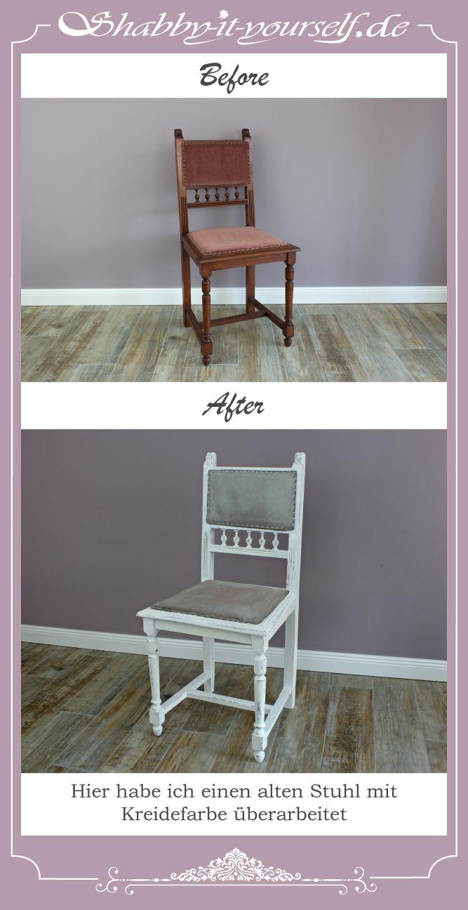 Hier habe ich einen alten Stuhl überarbeitet. Sowohl das Polster als auch das Stuhlgestell sind mit Kreidefarbe angemalt worden. Danach wurde mit Klarlack versiegelt. - Paint your chair with chalk paint!  http://www.shabby-it-yourself.de/ https://www.facebook.com/shabbyityourself