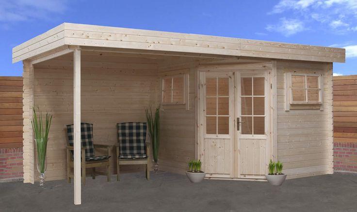 Hoekmodel blokhut / tuinhuisje met grote overkapping model IF 2556Z met afmetingen 250 x 250 cm van Interflex