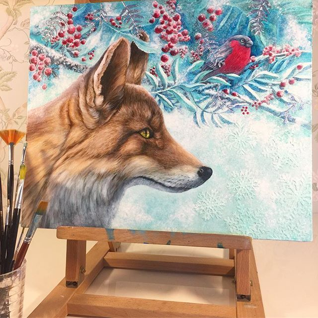'Winter Fox' Oil and silver leaf on Belgian linen canvas board. By Eeva Nikunen